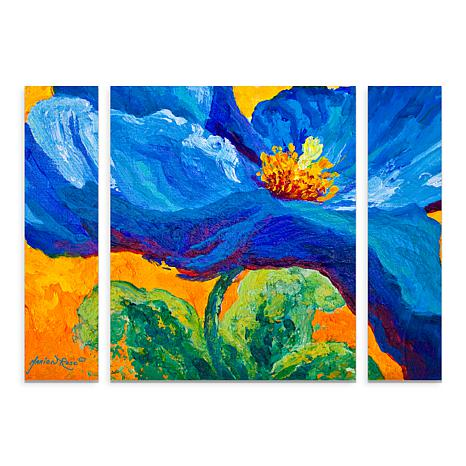 """Marion Rose """"Blue Poppy 2"""" Multi-Panel Art - 24"""" x 32"""""""