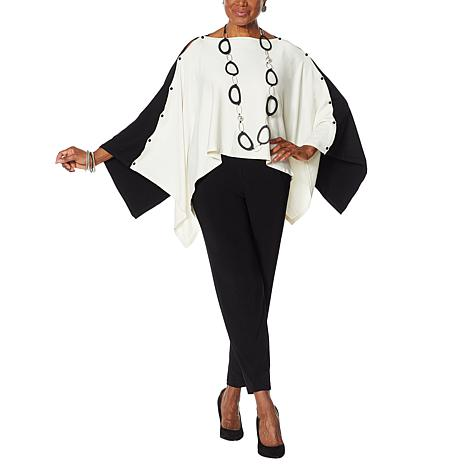 MarlaWynne Colorblock Convertible Sweater Poncho
