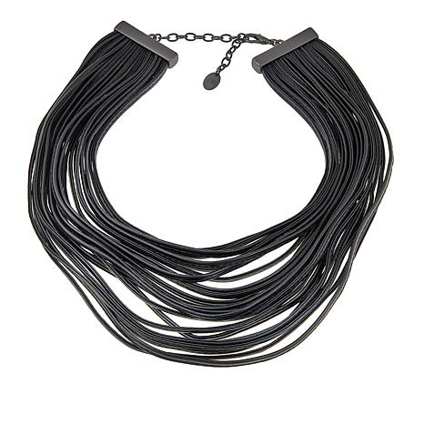 """MarlaWynne Faux Leather Multi-Strand 18"""" Necklace"""