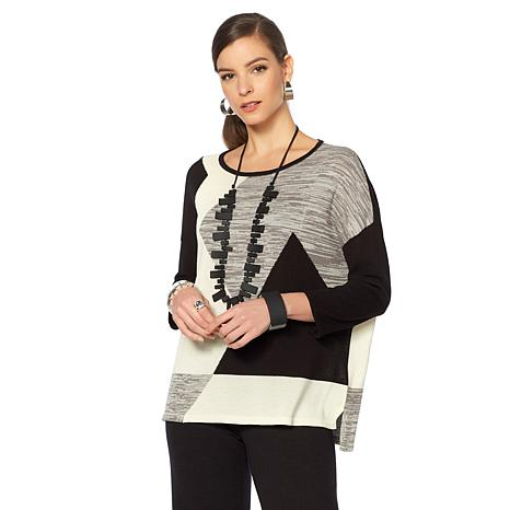 MarlaWynne Graphic Intarsia Patterned Sweater