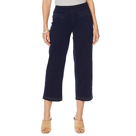 MarlaWynne Knit Denim Straight Leg Cropped Pant