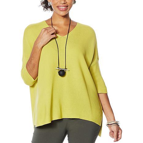 MarlaWynne Link Stitch V-Neck Pullover Sweater
