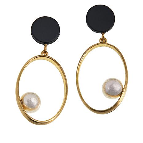 MarlaWynne Metal and Resin Tri-Tone Oval Drop Earrings