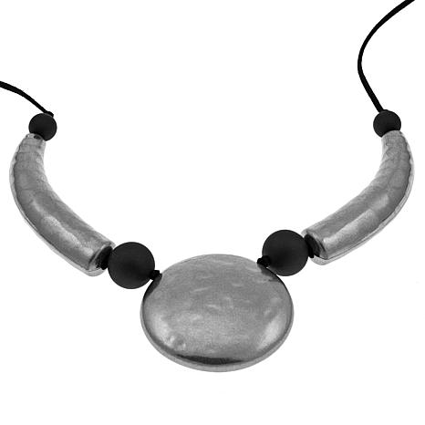 "MarlaWynne Metal and Rubber Geometric Drop 74"" Necklace"
