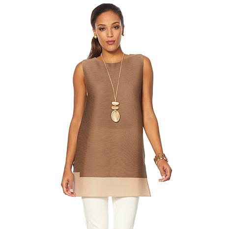 MarlaWynne Micro Pleated Sleeveless Colorblock Tunic