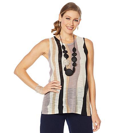 MarlaWynne Semi Sheer Striped Knit Tank