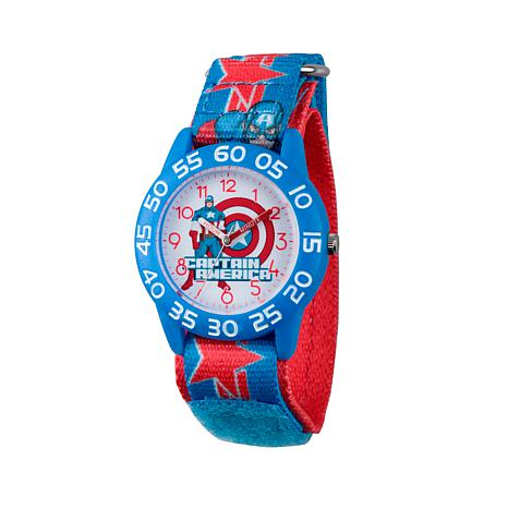 Marvel Captain America Kid's Time-Teacher Watch with Star Design Strap