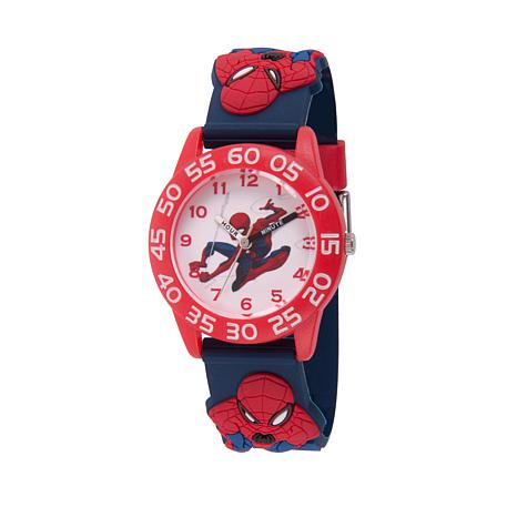 Marvel Spider-Man Kid's Time-Teacher Red Bezel Blue  Strap  Watch