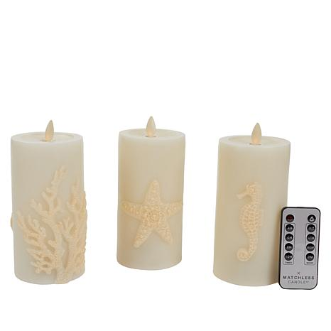 Matchless Queen Embossed Moving Flame Candles - Set of 3
