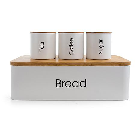 MegaChef Bamboo Kitchen Countertop Container Set in White