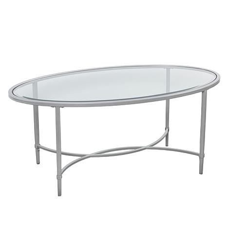 melinda metal glass oval cocktail table silver 8520825 hsn. Black Bedroom Furniture Sets. Home Design Ideas