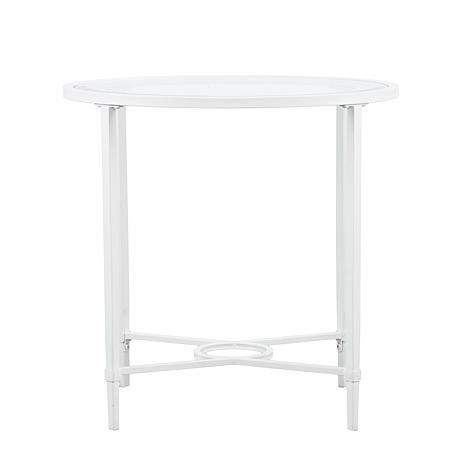 ... Melinda Metal/Glass Oval Side Table   White ...
