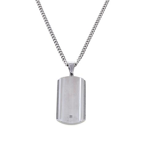 Mens stainless steel 001ct diamond accent dog tag pendant with 24 mens 001ct diamond accent dog tag pendant aloadofball Images