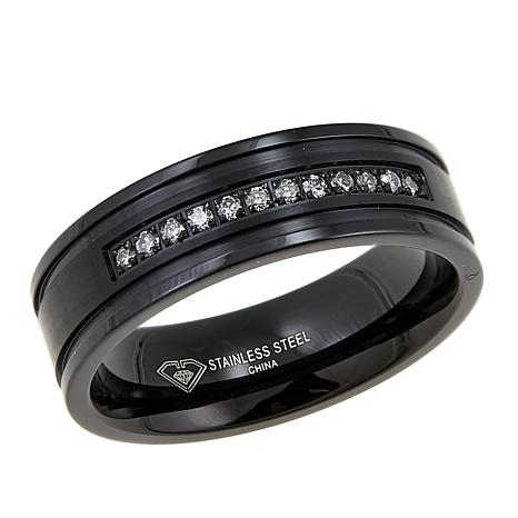 Men's 0.15ct Diamond 7mm Grooved Black Stainless Steel Wedding Band