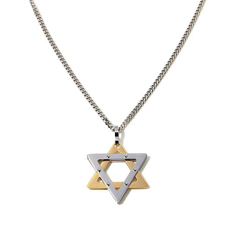 "Men's 2-Tone Stainless Steel ""Star of David"" Pendant"