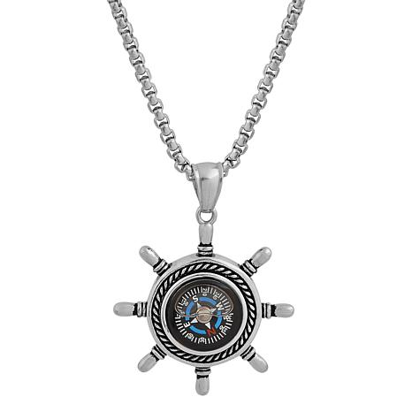"Men's 24"" Stainless Steel Ship Wheel Compass Pendant Necklace"