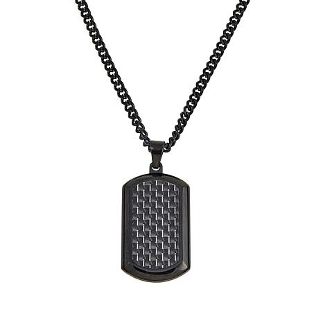 "Men's Black Stainless Steel Textured Pendant with 24"" Chain"
