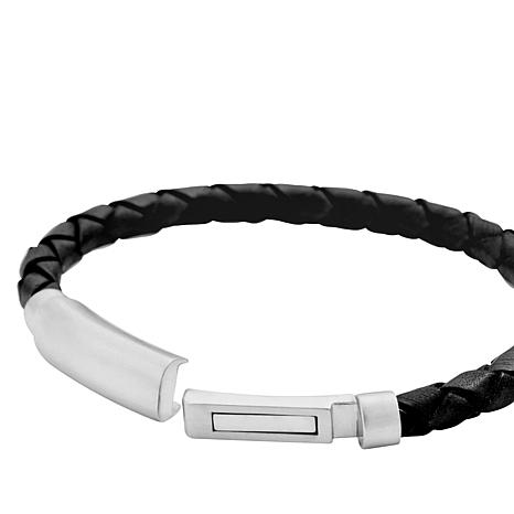 805152b7c0c14 Men's Brushed Stainless Steel Braided Leather Bracelet