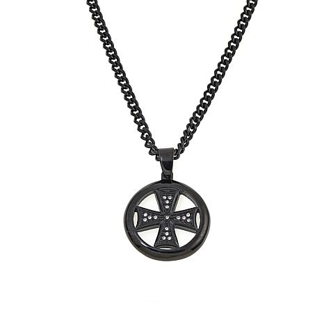 Men's Cubic Zirconia Round Cross Black Stainless Steel Pendant/Chain