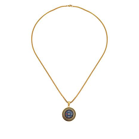 Men's Goldtone Stainless Steel Compass Pendant with Chain