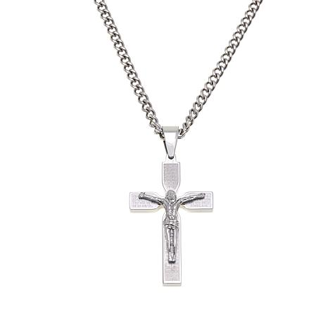 "Men's Lord's Prayer Crucifix Pendant with 24"" Chain"