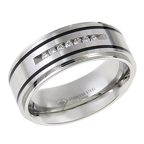 Men's Stainless Steel Black-Striped Diamond-Accented 8mm Wedding Band