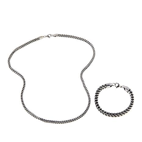 Men's Stainless Steel Franco Chain 2-piece Gift Set