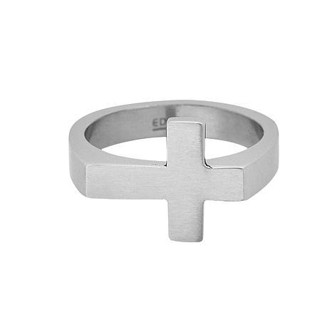 Men's Stainless Steel Sideways Cross Ring