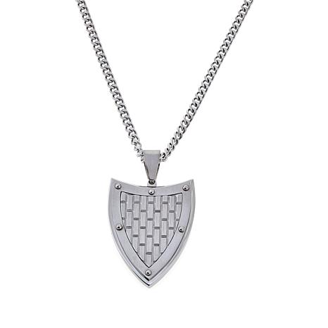 "Men's Textured Shield Pendant with 24"" Curb Link Chain"