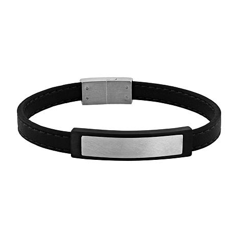 Men's Two-tone Stainless Steel Faux Leather ID Bracelet