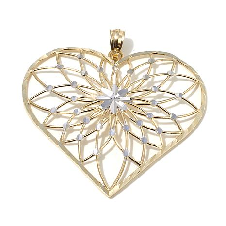 Michael Anthony Jewelry® 10K 2-Tone Open Heart Pendant
