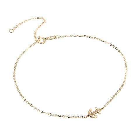 """Michael Anthony Jewelry® 10K Gold 9"""" Anchor Anklet"""