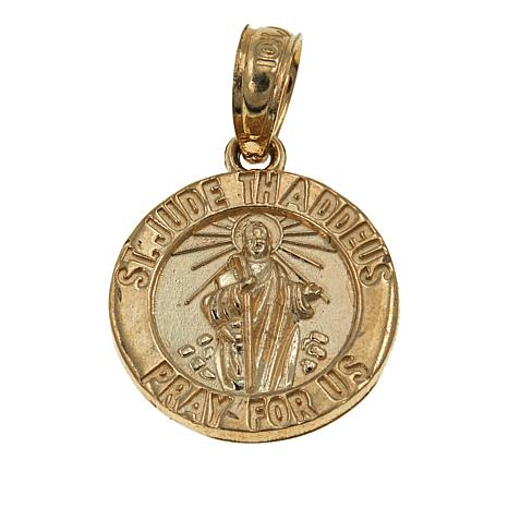 "Michael Anthony Jewelry® 10K Gold St. Jude ""Pray for Us"" Round Pendant"