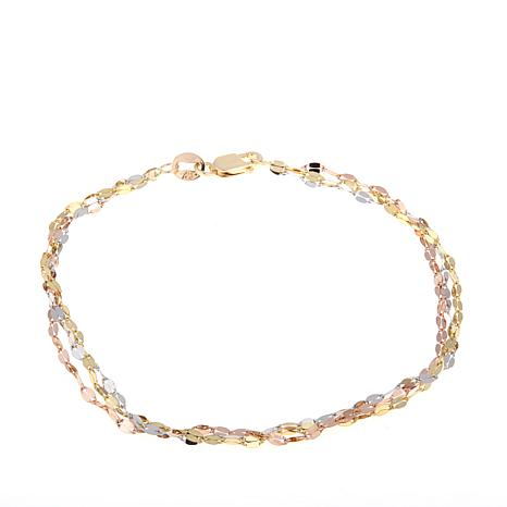 Michael Anthony Jewelry® 10K Tri-Color 3-Chain Bracelet