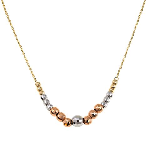 "Michael Anthony Jewelry® 10K Tri-Color Bead 17-3/4"" Necklace"