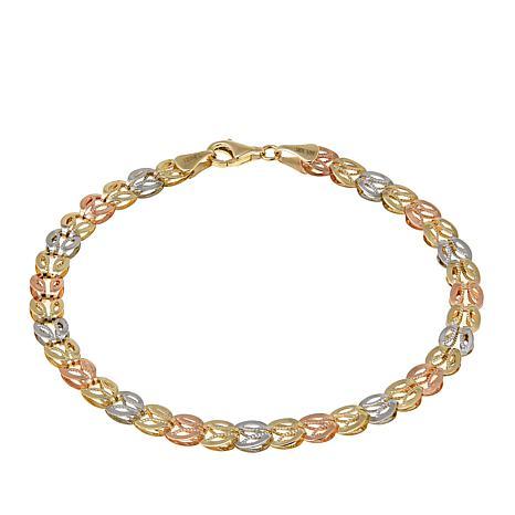 "Michael Anthony Jewelry® 10K Tri-Color Open Link 7-1/2"" Bracelet"