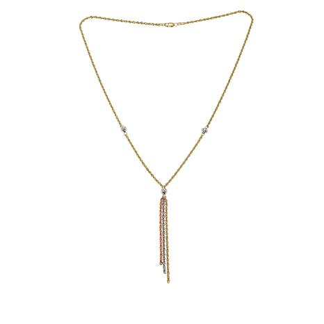 "Michael Anthony Jewelry® 10K Tri-Color Tassel Drop 18"" Necklace"