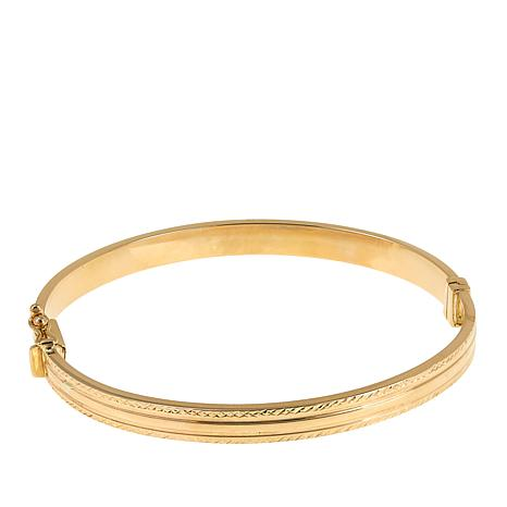 Michael Anthony Jewelry® 14K Diamond-Cut Hinged Bangle Bracelet