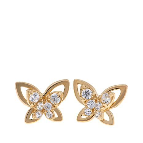 "Michael Anthony Jewelry® 14K Gold Kid's CZ ""Butterfly"" Studs"