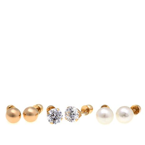 Michael Anthony Jewelry® 14K Kids 3-pair Round Stud Earring Set