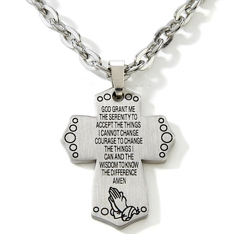 Serenity prayer stainless steel cross pendant with 22 chain michael anthony jewelry cross pendant with 22 chain aloadofball Images