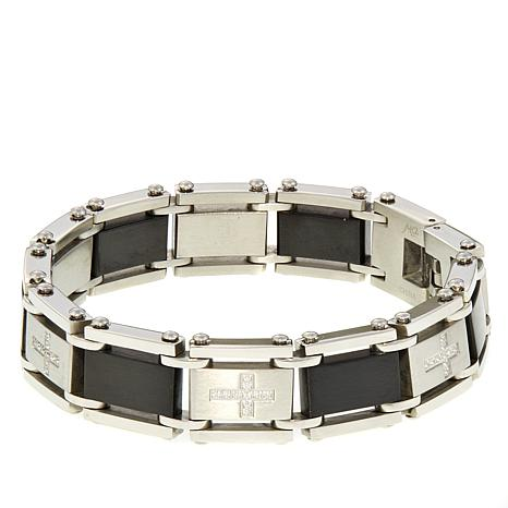 Michael Anthony Jewelry® Men's 2-Tone CZ Cross Bracelet