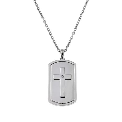 Michael Anthony Jewelry® Men's Lord's Prayer Dog Tag Cross with Chain