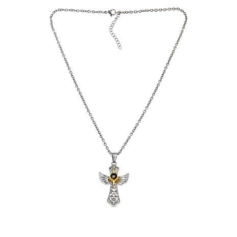 Michael Anthony Jewelry® Nativity Stone Angel Wing Cross Pendant