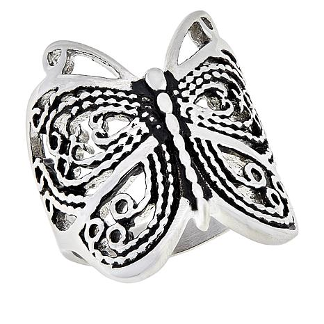 Michael Anthony Jewelry® Stainless Steel Butterfly Ring