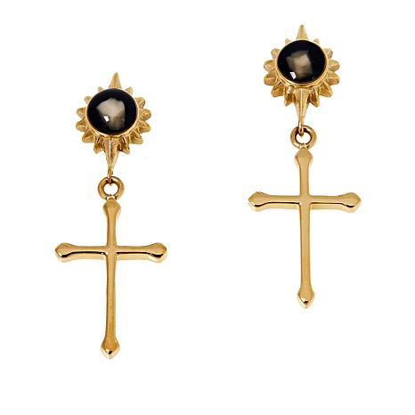 Michael Anthony Jewelry® Stainless Steel Nativity Stone Cross Earrings