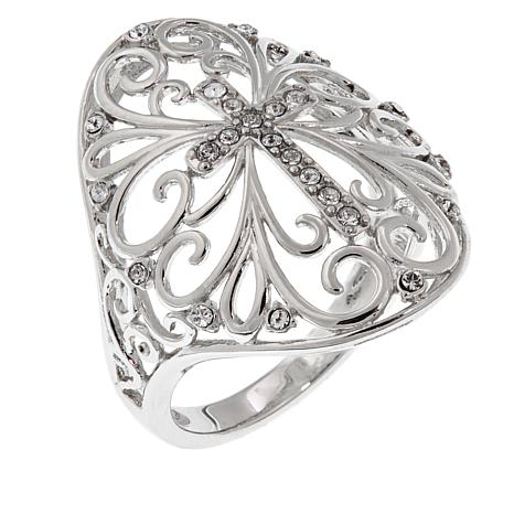 Michael Anthony Jewelry® Sterling Silver Crystal Cross Scroll Ring