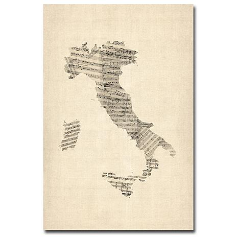 "Michael Tompsett ""Italy-Old Sheet Music Map"" - 16""x24"""