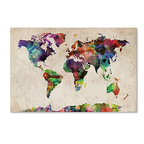 Michael Tompsett 'Urban Watercolor World Map' Giclee Print on people see the world, visualize the world, as i see the world, travel the world, seeing the world, the way we see the world, quotes about wanting to see the world, quotes about traveling the world, how do dogs see the world, careers traveling the world, i want a traveling job,