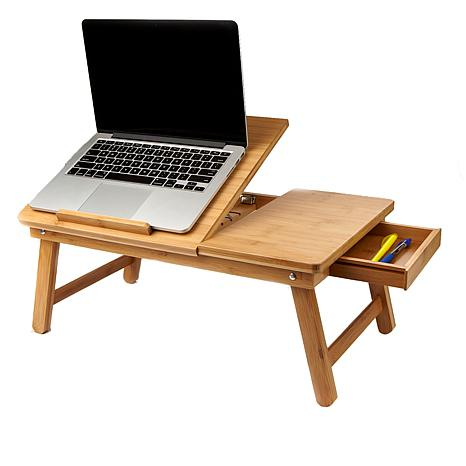 Mind Reader Adjustable Bamboo Wood Laptop Bed Tray - Brown